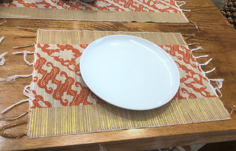 Bamboo Stick Placemat with Red/Gold Thread