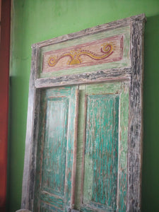 Reclaimed TEAK Original Antique Balinese Entrance Doors and Frame 10211