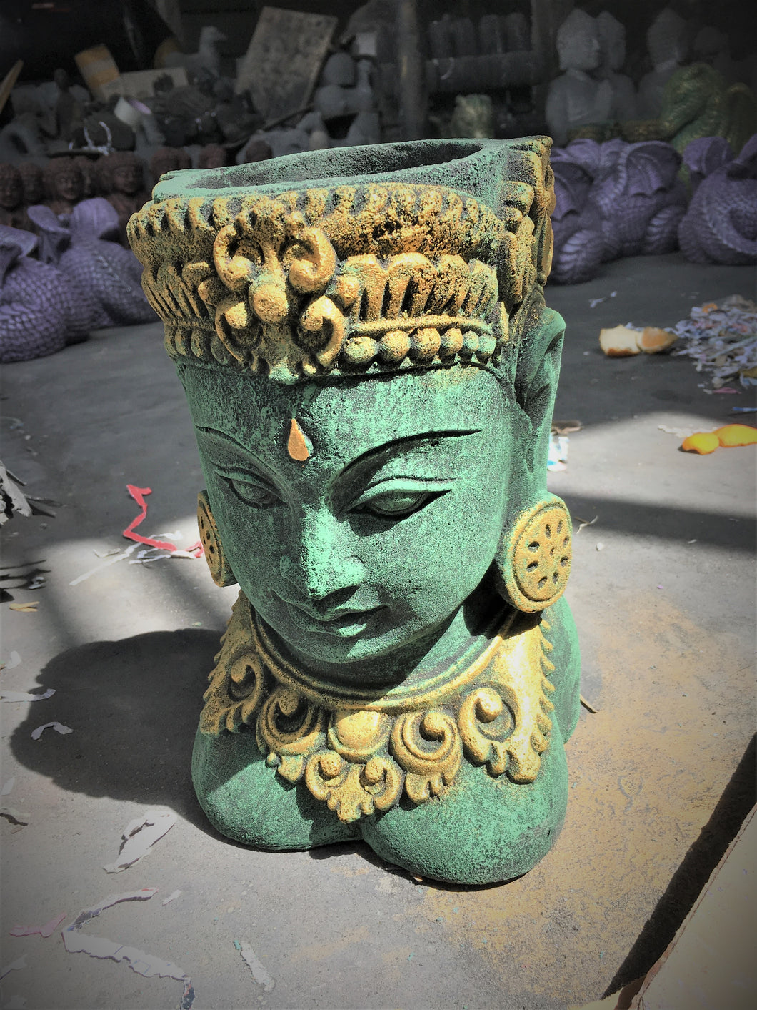 Cast concrete Lady Tara Buddha Head Pot