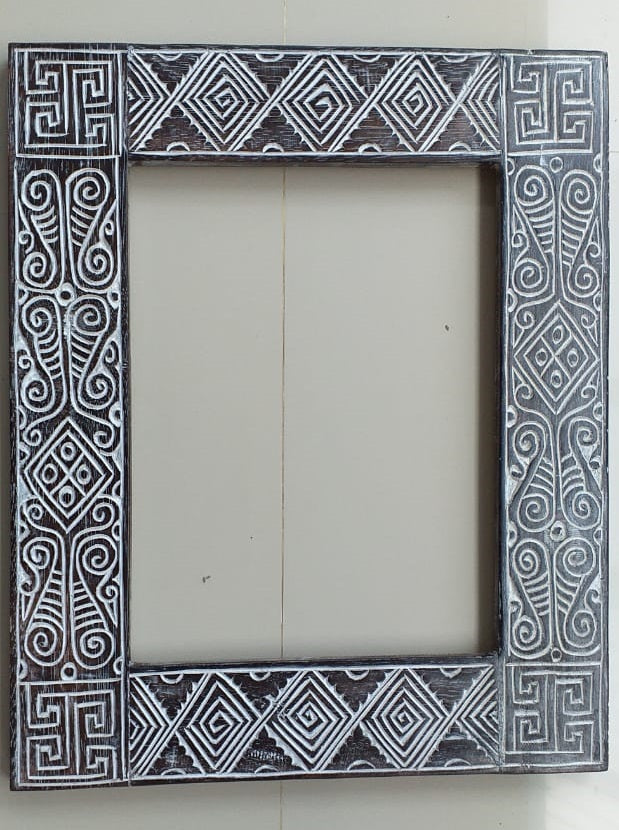 White Wash Tribal Mirror