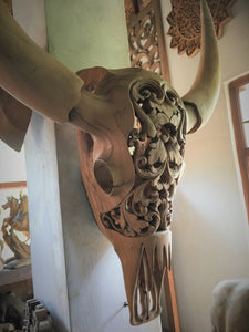 Hand Carved Wooden Buffalo Skull