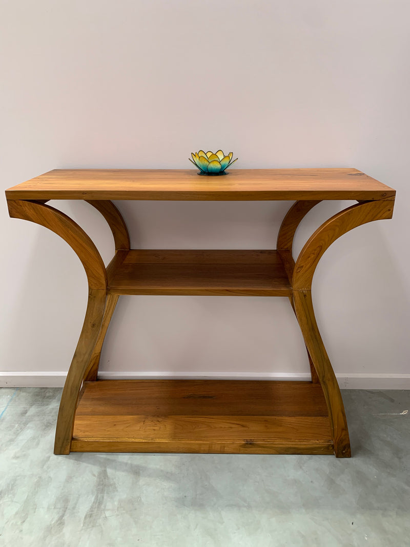 Teak Console Hallway Table with Curved Legs