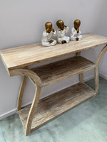 Coastal Teak Console Hallway Table with Curved Legs