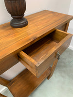 Teak Console Hallway Table with Curved Legs and Drawer