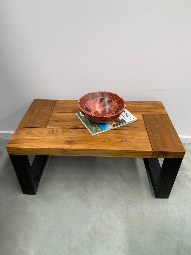 Solid Teak Coffee Table with U Shaped Legs