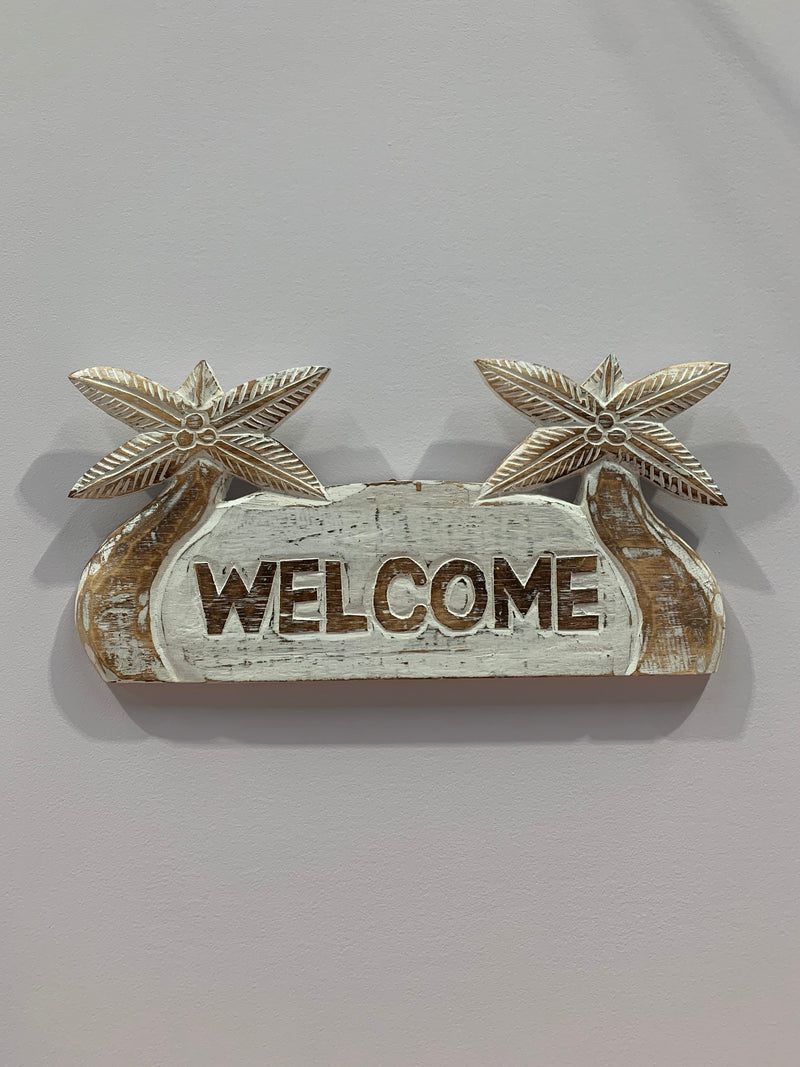 Hand Carved Welcome Hanging Sign