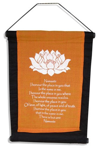 Balinese NAMASTE Affirmation Flag Scroll Hanging #1042