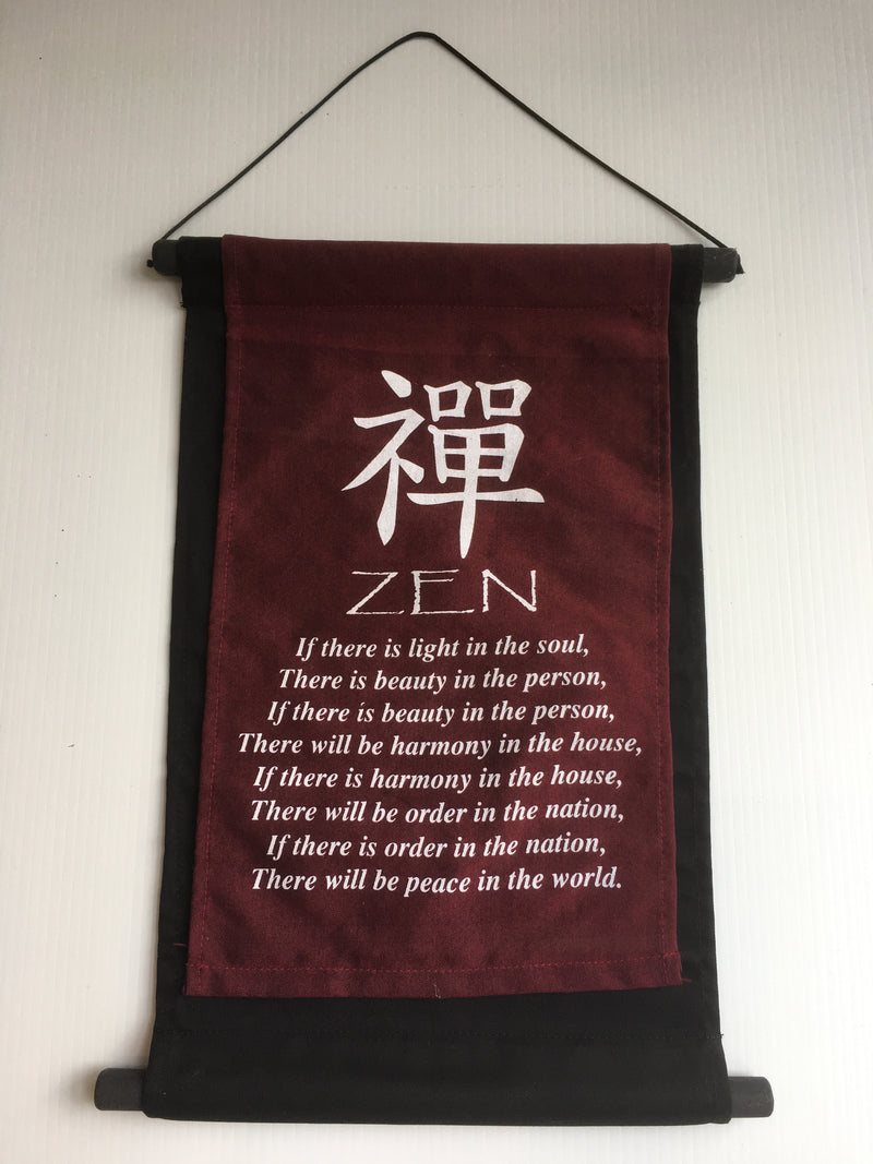 Balinese ZEN Affirmation Flag Scroll Hanging
