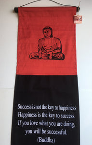 Balinese BUDDHA SUCCESS Affirmation Flag Scroll Hanging #1044