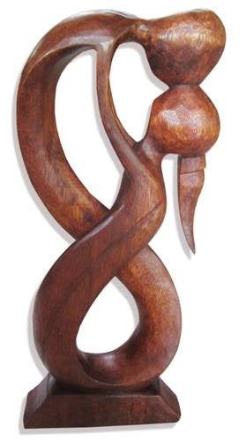Balinese Abstract Wood Carving Kissing Couple Statue Sculpture