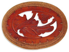 Balinese Carved Timber Oval Placemat with a Rattan Edge
