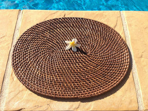 Balinese 40cm Oval Rattan Cane Place mat #1108