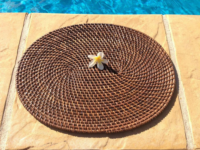 Balinese 40cm Oval Rattan Cane Place Mat
