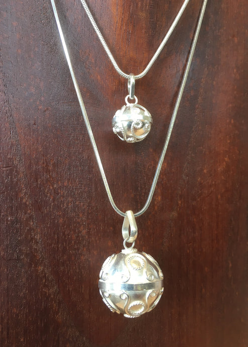 Balinese Sterling Silver 925 Harmony Ball Chime Pendant and Choker