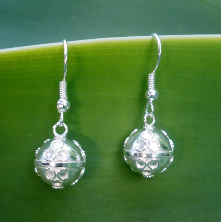 Sterling Silver Plated 925 Balinese Harmony Ball Earrings Gift Boxed