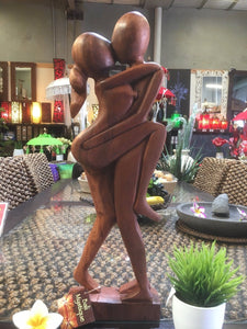 Balinese Abstract Loving Couple Wood Carving Sculpture #1136