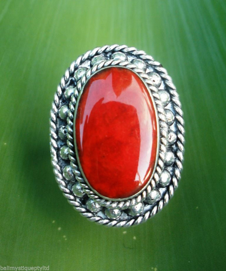 Balinese Stirling Silver 925 RED Stone Ring Gift Boxed #1144