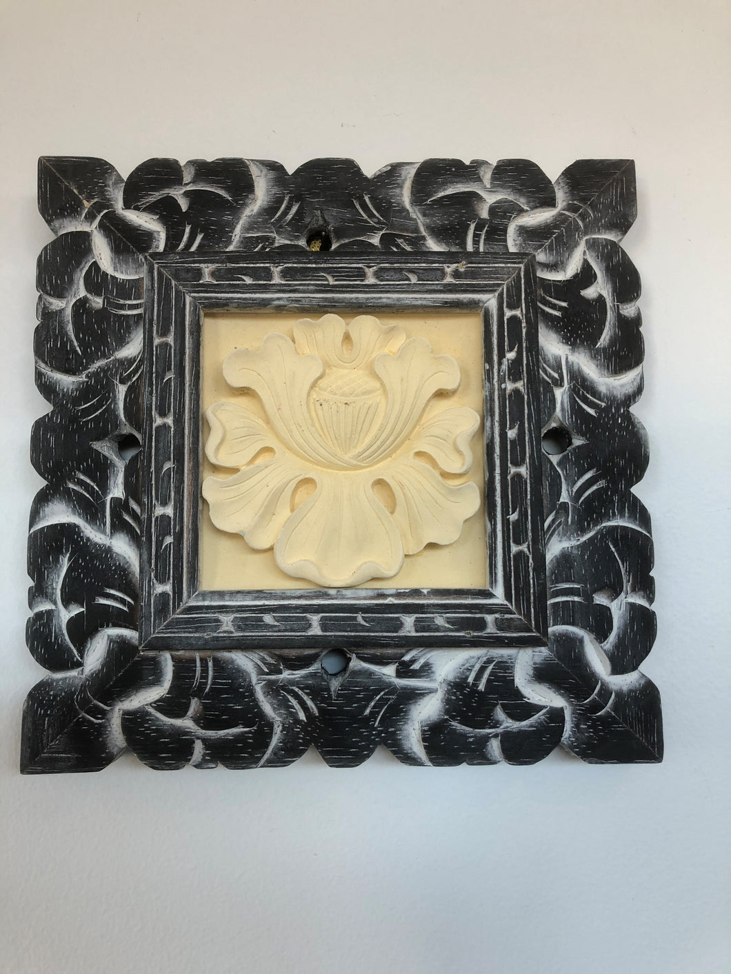 Balinese Hand Carved Limestone Flower Wall Tile in Timber Frame