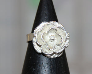 Silver Plated Rose Dress Ring #1205