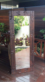 Balinese Carved Timber Bamboo Design Mirror