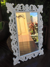Load image into Gallery viewer, Balinese Carved Timber French Hamptons Whitewash Mirror