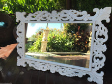 Balinese Carved Timber French Hamptons Whitewash Mirror #1223
