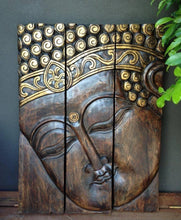 Balinese Hand Carved Split Face Buddha Wood Carving Panel Wall Hanging
