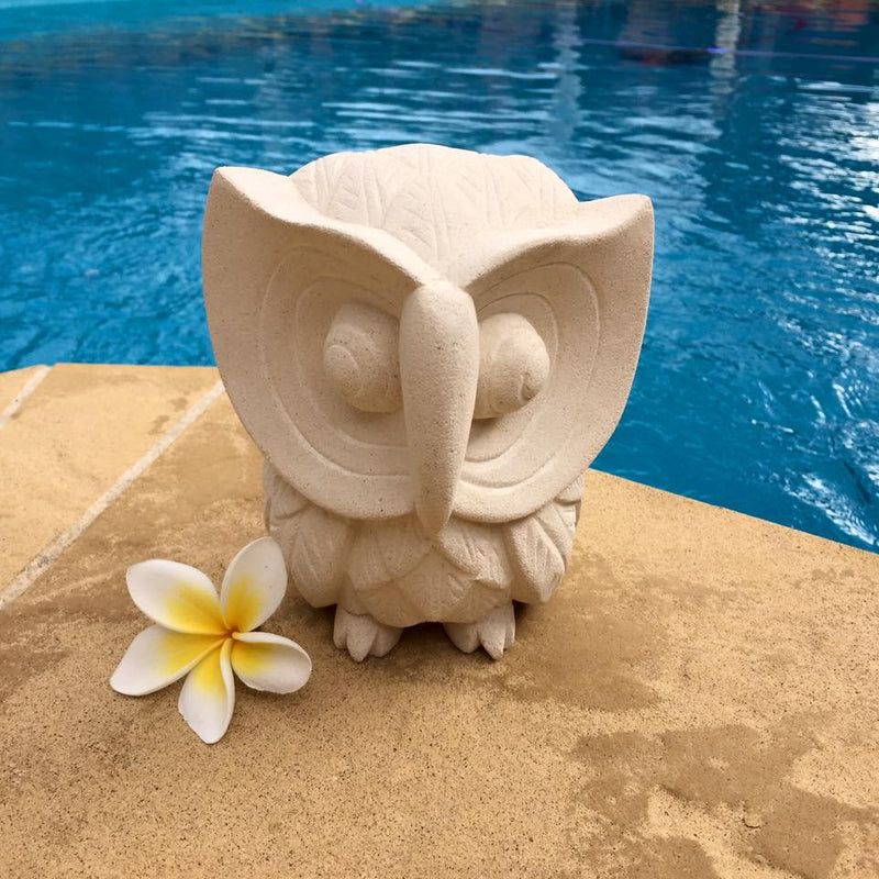 Balinese Limestone Wise Owl Sculpture Statue