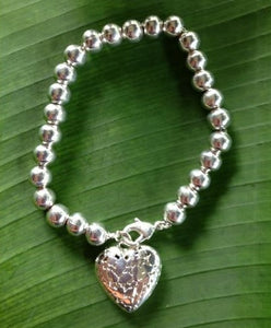 Balinese Sterling Silver 925 Plated Heart Bracelet