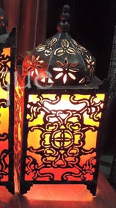 Balinese Masjid Moroccan Style Metal & RED Fabric Bedside Lamp Bali #1258