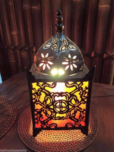Balinese Small Moroccan Style Metal & RED Fabric Bedside Lamp Bali #1258