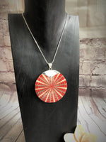Red Spider Shell Pendant with Silver Clasp