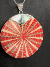 Red Spider Shell Pendant with Silver Clasp #1289.