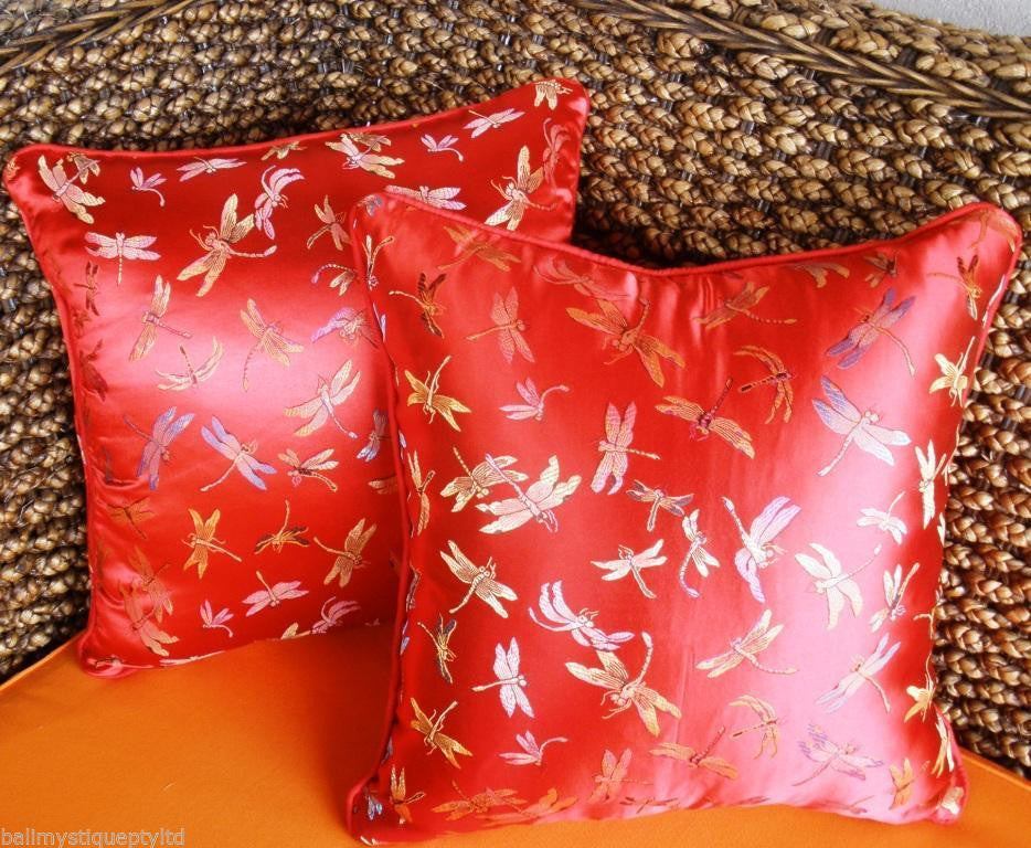 Balinese RED Satin Dragonfly Cushion Covers #1295