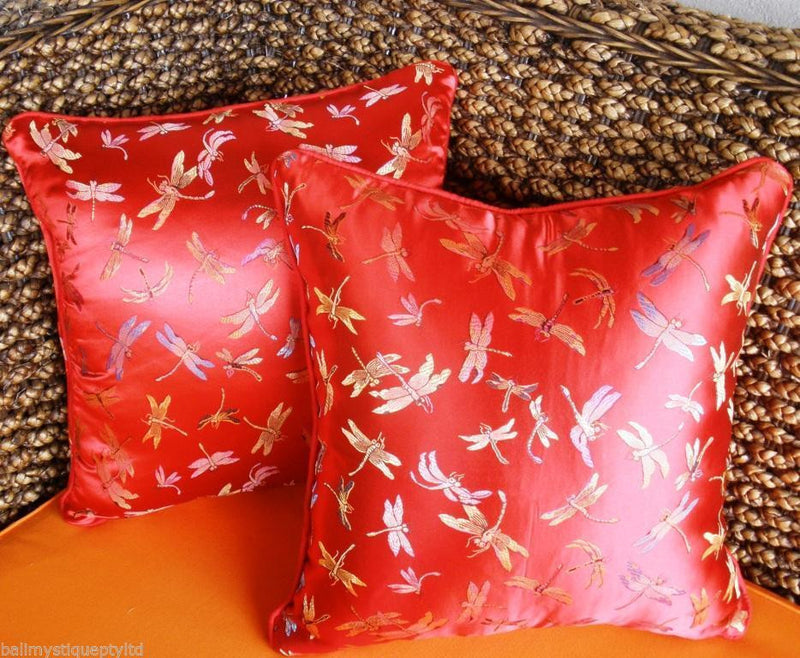 Balinese RED Satin Dragonfly Cushion Covers