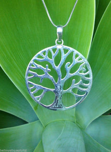 Balinese Sterling Silver 925 Plated Tree of Life Pendant Necklace
