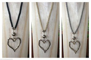 Balinese Handmade Long Bead & Silver Heart Necklace
