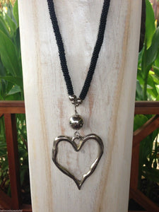 Balinese Handmade Long Bead & Silver Heart Necklace #1313