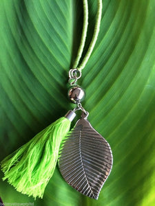 Balinese Handmade Bead & Silver Leaf & Tassle Necklace - Choice of Colour #1315