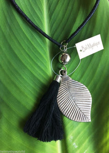 Balinese Handmade Bead & Silver Leaf & Tassel Necklace - Choice of Colour