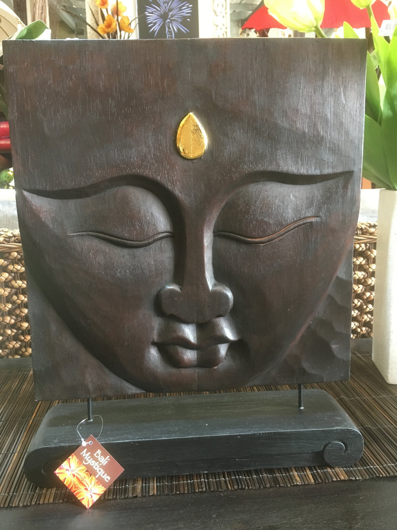 Balinese Buddha Face Solid Wood Carving stand