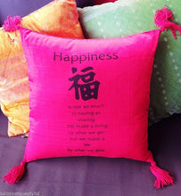Balinese 40cm HAPPINESS Cushion Cover with Tassles #1332