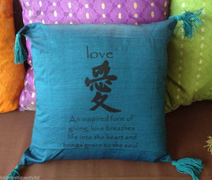 Balinese 40cm LOVE Cushion Cover with Tassles #1334