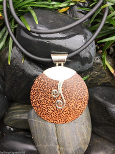 Balinese Coconut Shell Round Pendant with Sterling Silver 925 detail