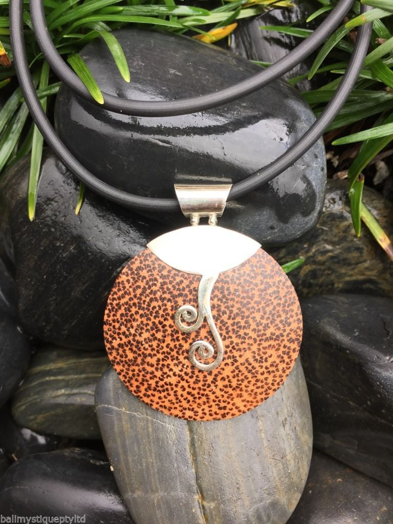 Balinese Coconut Shell Round Pendant with Stirling Silver 925 detail