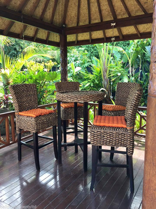 Balinese 5 Piece Mahogany & Water Hyacinth Alfresco Bar Table & Stools
