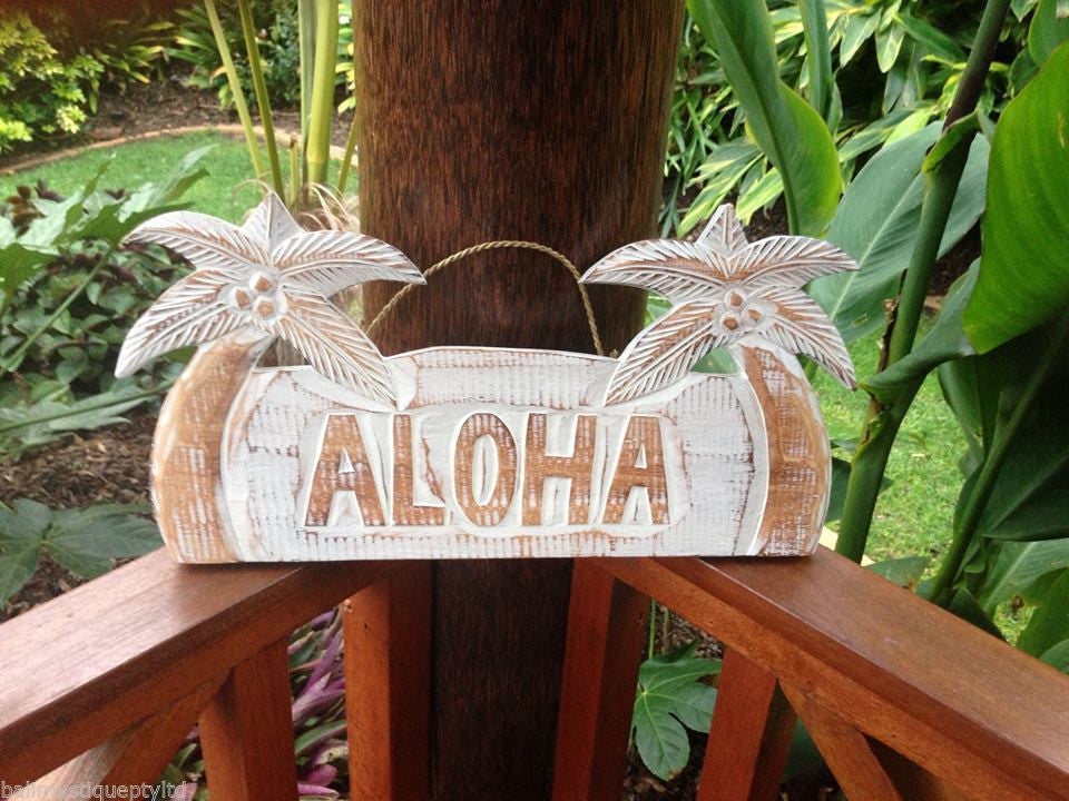 Balinese Timber Wall Plaque Hanging Aloha Palm Tree Sign - #1350