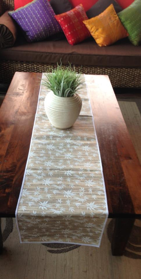 Balinese Large Coconut Fibre Table Runner Bamboo Leaf Design #1351