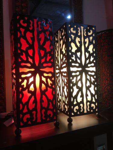 Balinese 50cm Moroccan Style Metal & Fabric Table Lamp #1356