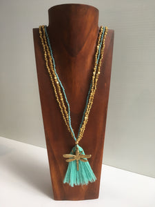 Balinese Handmade Long Bead Dragonfly & Tassel Necklace